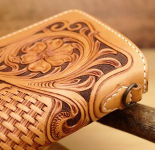レザーカービング:長財布、レザーウォレット、革財布