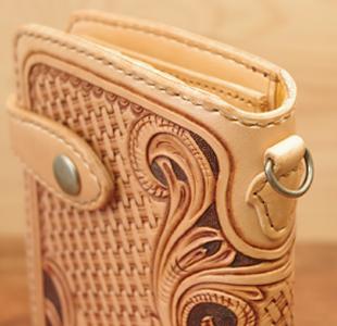レザーカービング・ウォレット/ハートの長財布