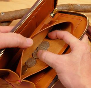 ハートのL字ファスナー長財布:革財布