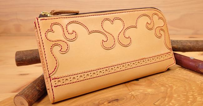 Lファスナー:可愛いハートの長財布