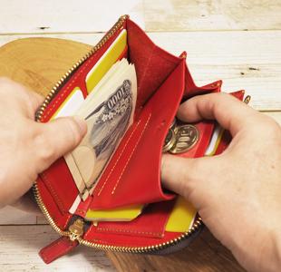Lファスナー革財布:ミドルサイズ