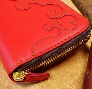 可愛いハートのラウンドファスナー長財布:レザーウォレット:革財布